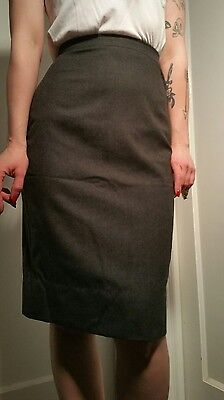 "Vintage 50's high quality pencil skirt wiggle gray wool 25"" waist XS lined knee"