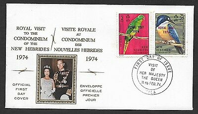 (111cents) New Hebrides 1974 Royal Visit First Day Cover