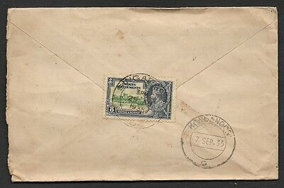 (111cents) Malaya Straits Settlements used in Singapore 1935 Cover