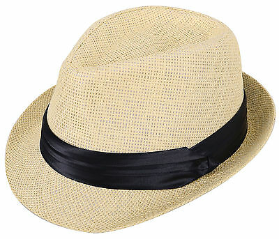 Kid Straw Fedora Hat Unisex Panama Style Trilby Cap with Band Décor