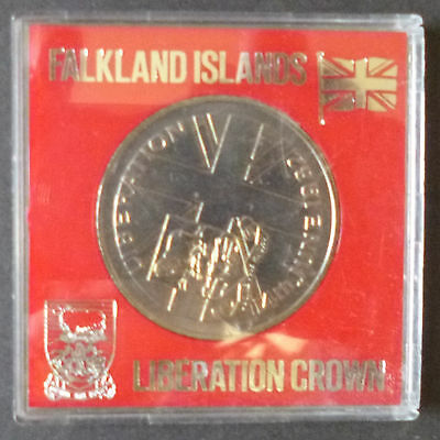 Falkland Islands 1982 Liberation Crown Coin Cased