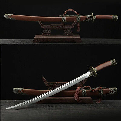 """Handmade CHINESE """"QING DAO"""" (刀) Folded Steel Blade Broad Sword Rosewood Scabbard"""