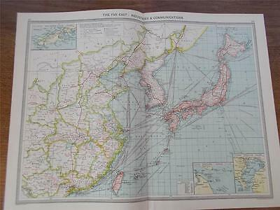 Antique c1904 Colour Map of THE FAR EAST INDUSTRIES & COMMUNICATIONS HARMSWORTH