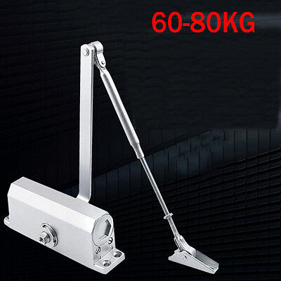 60-80KG Silver Aluminum Commercial Door Closer Two Independent Automatic Control