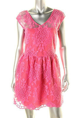 AQUA ~ Pink Lace Illusion Yoke Double V Fit & Flare Party Dress L NEW $118