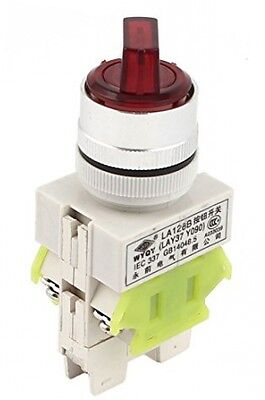 AC220V 10A 1NO 1NC 3P 6-Terminal Rotary Selector Switch Red Indicator