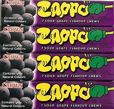 Bulk Lollies 9 x ZAPPO CHEWS GRAPE Party Favors Candy Buffet Wrapped Sweets