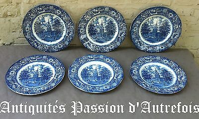 B2017376 - 6 assiettes plates en faïence Anglaise Staffordshire - Liberty blue