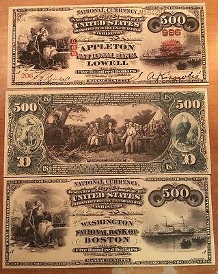 Reproduction  Paper 1875 $500National US Currency Copy BankNote & Proof