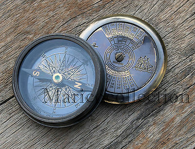 Antique Brass Calender Compass Maritime Vintage Nautical Compass Poem Engraved