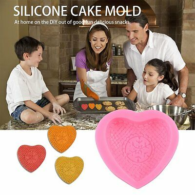 3D Heart Shaped Snowflake Silicone Cake Mold Fondant Baking Decorating Tools AU