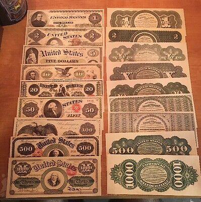 Reproduction  Paper 1862 9 PC US Legal Tender Currency Copy Note Set $1-$1,000