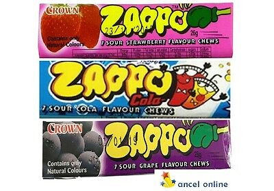 Bulk Lollies 9 x ASSORTED FLAVOUR ZAPPO CHEWS Party Favors Candy Buffet Sweets
