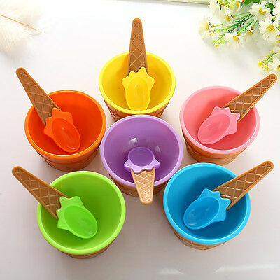 Ice Cream Bowls Cup Couples With Spoon Dessert Set Sweet Plastic Candy Color