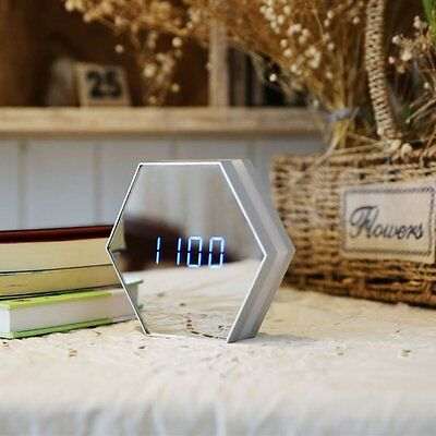 LED Mirror Digital Alarm Clock Night Light Thermometer Alarm Clock Table Lamp AU
