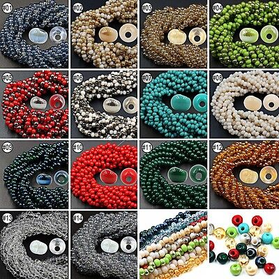 50/100pcs Mixed Color Synthetic Crystal Gemstone Round Flat Loose Beads 6mm