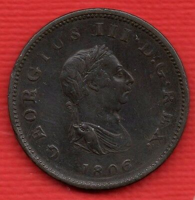 1806 KING GEORGE III COPPER HALF PENNY COIN. HALFPENNY. 1/2d IN NICE CONDITION