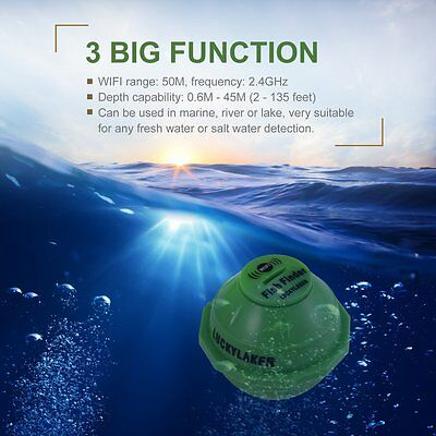 Smart Wi-Fi Fish Finder Sonar for Smartphone or Tablet Fishing Shore Fishing AU