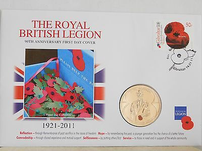 2011 Royal British Legion 90th Anniversary Jersey £5 Coin & Cover ~ POPPY DAY.