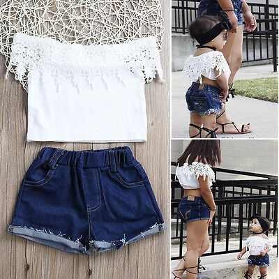 2017 Toddler Kids Baby Girls Lace Tops Denim Pants Shorts Outfits Clothes Set
