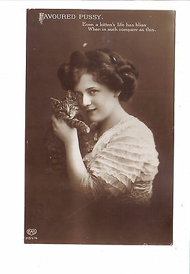 Vintage Postcard.woman with cat.Posted 1913
