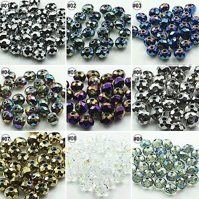 100/500pcs Plating Mixed Colour Synthetic Crystal Gemstone Round Flat Beads