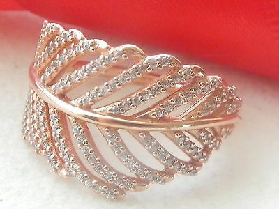 Authentic Pandora Rose Gold Feather Ring - 180886Cz - 54