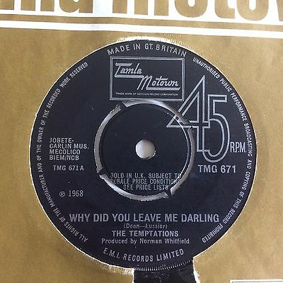 "Temptations: ""why Did You Leave Me Darling"" Tamla Motown Tmg 671"