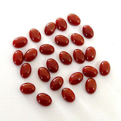 Red Onyx Cabochon Oval Shape 25 Piece Loose Gemstone Lot Online Order # 10761
