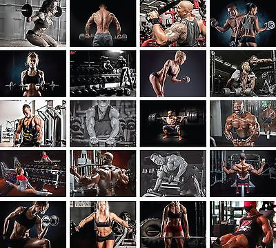Bodybuilding Gym Muscle Motivational Man Woman Wall Art Poster Prints Maxi A1 A2