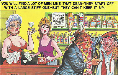 Vintage 1970's Bamforth COMIC Postcard (as new condition) Can't keep it up #510