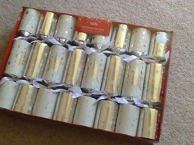 Asda  8 premium christmas , xmas crackers , silver, white .christmas crackers