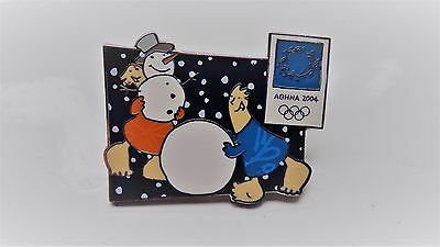 Original Winter Olympic Games Athens 2004 badge pin with mascots Phevos & Athena