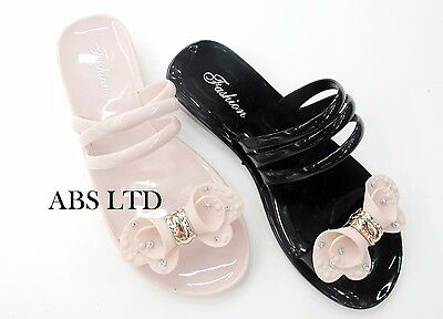 Women Ladies Toe Bow Jelly Summer Non Slippery Flip Flop Sandals