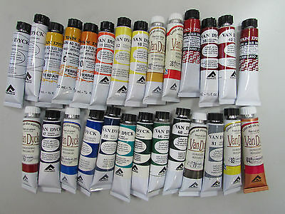 Lot of 27pcs Van Dyck Artist Quality Oil Colors 20ml