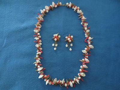 Vintage Coral and Cream Shells Necklace and Clip Earrings Set #86