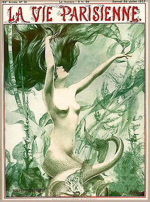1927 La Vie Parisienne Mermaid French Nouveau France Travel Advertisement Poster