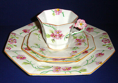 VINTAGE 1940s  MELBA ART DECO FLOWER HANDLE 4 PIECE TEA FOR ONE SET
