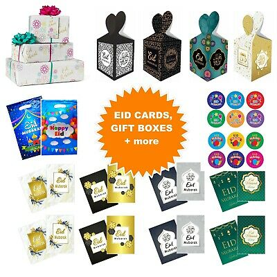 Happy Eid Mubarak Cards Bags Boxes Gift Wrapping Paper Stickers Badges Kids Gold