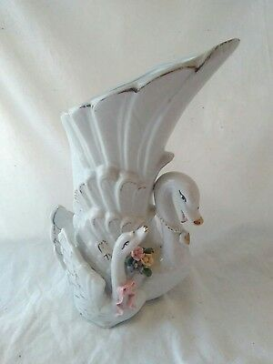 Vintage Mother Swan with Baby White and Gold Vase 9""