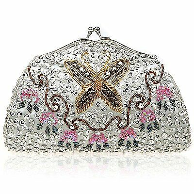 BMC Womens Pearl White Tiny Bead Encrusted Butterfly Design Clutch Evening Bag