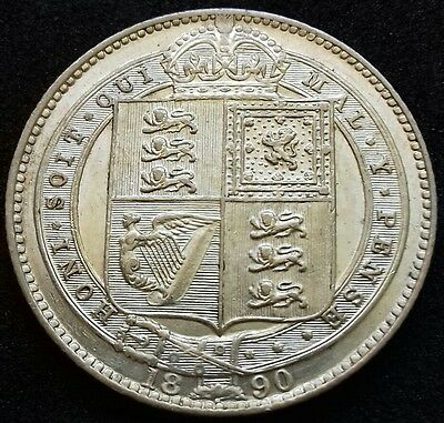 1890 Shilling. S.3927. Large Head Victoria Jubilee Silver Coin.
