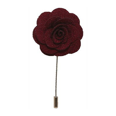 Burgundy Handmade Flower/Rose Lapel Pin for wearing with men's suit jacket, blaz
