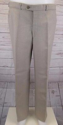 Vintage Mens Flat Front Beige French Poly Wool Blend Trousers W38 L31 CG26