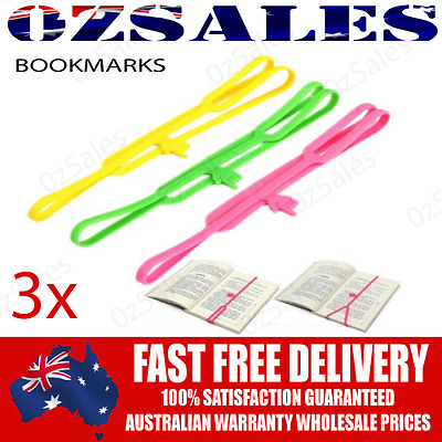 3x Bookmarks Stretch Book Mark Novelty Funny Silicone Note Pad Memo Stationer