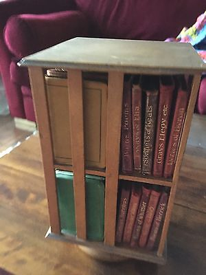 Antique Arts And Crafts Miniature Wooden Revolving Bookcase With Original Books.