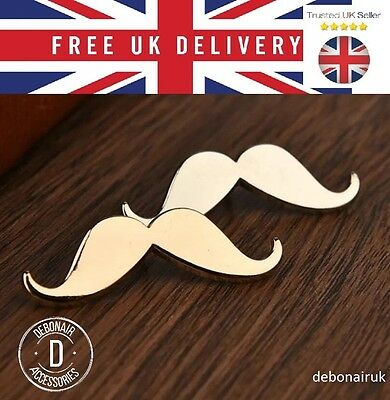 Silver Moustache Mens Gents LAPEL PIN Badge Handlebar Suit Jacket Fashion