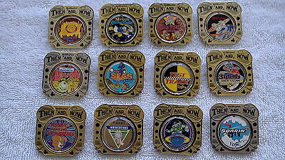 Disney World 2010 Then and Now Series Complete set of 12 spinner pins LE 1000