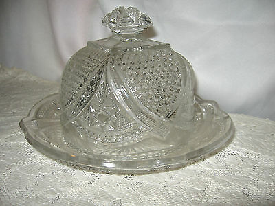 Early American Pattern Glass Covered Butter/Cheese Dish & Lid Hobnail & Stars