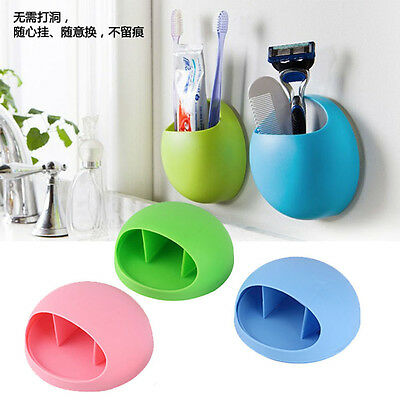 Wall Mounted Stand Suction Cup Toothbrush Holder Toothpaste Storage Rack